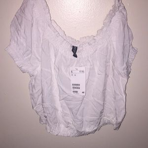 Hm divided off the shoulder crop top new